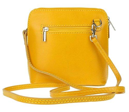 Yellow Leather Cross Small Genuine Bag Bag Pelle Shoulder Mini or Vera Italian Handbag Body S5awqO1