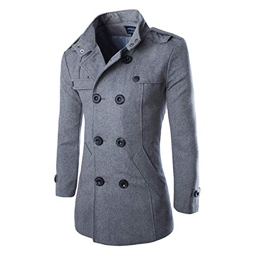 AOWOFS Men's Mid Long Wool Woolen Pea Coat Double Breasted Stand Collar Overcoat Winter Trench Coat (Grey, Small)