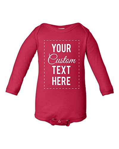 InkThread Personalized Baby Onesie Bodysuit Long Sleeve Customize 4 Lines Of Text, 15 Fonts, 13 Ink Colors
