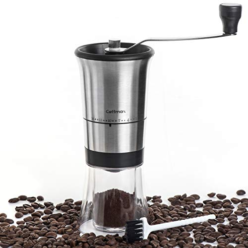 Perfect Manual - Coffmax Manual Coffee Grinder - Ceramic Conical Burr Mill with 16 Grind Settings - Quiet Coffee Beans Grinder with Stainless Steel Hand Crank + BONUS Cleaning Brush & eBook - Perfect for Travel & Camping