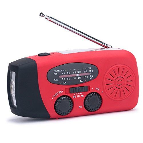 (New Version) Lanshanchu NOAA Weather Radio Solar Hand Crank Emergency Dynamo FM AM WB Radio with 3-LED Flashlight for Hiking Camping Snow Storm Hurricane, 1000mAh Power Bank for Smart Phone (Red)