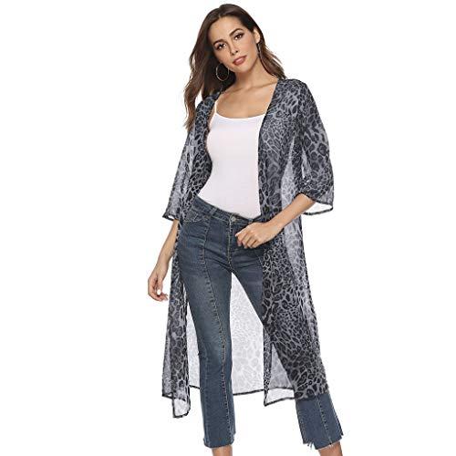(Sunward Women's Chiffon Long Kimono Sheer Loose Cardigan Lightweight Breathable Cover ups Blouse (L, Blue) )