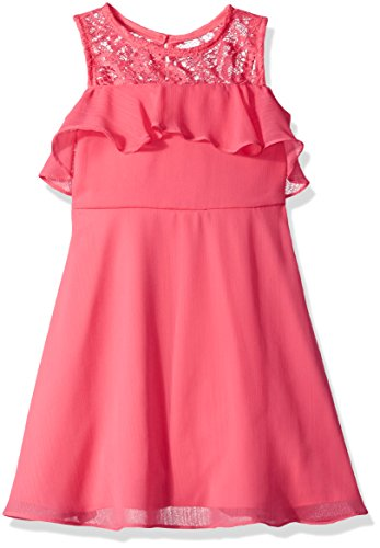 Rare Editions Little Girls' Chiffon and Lace Cold Shoulde...