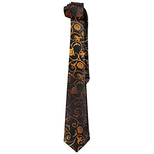 (Men Halloween Pumpkins Polyester Silk Casual Gentleman Tie Necktie Gift Box)