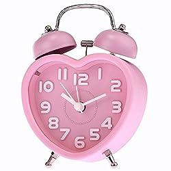 SODIAL(R) Clock Cute Small Double-Bell Night Light Children Mini Quartz Alarm Clock Heart (Pink)