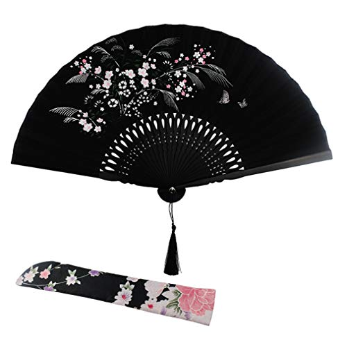 Wobe Grassflowers Folding Hand Held Fans - with a Fabric Sleeve for Protection for Birthday Gifts - Womens Folding Hand Fan Chinese/Japanese Vintage Style Handheld Folding Fan Home Decorations Baby Sh]()