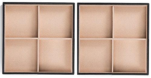 Glenor Co Jewelry Organizer Tray – Set of 2 – Stackable 8 Square Slot Jewelry Storage Trays – Display on Dresser or Drawer – Compatible with Other Glenor Trays – Black