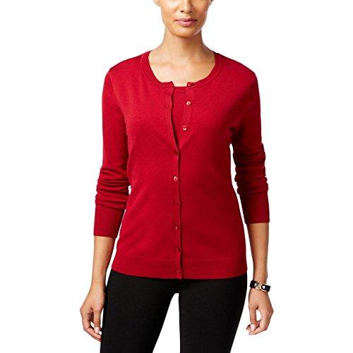 Silk Blend Sweater Dress (August Silk Womens Silk Blend Button Front Cardigan Sweater Red XS)