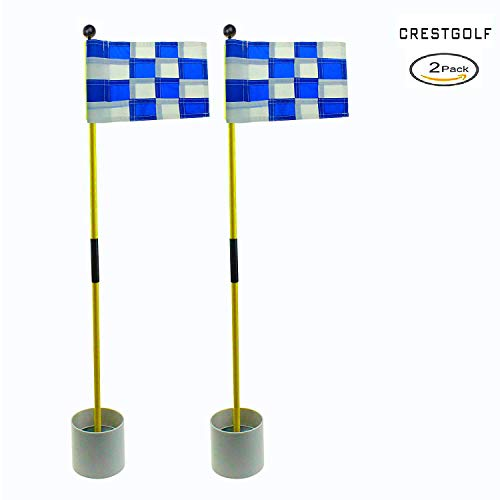 2018 New-arrival Detachable Portable Backyard Practice Golf Hole Pole Cup Flag Stick, golf Putting Green Flagstick 2 sets count (2cups, 2flags and 2poles) (blue-white)