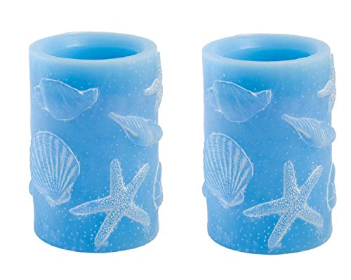 (Boston International Set of 2 Flameless LED Candle with Sea Shell Accents, 4 x 6-Inches, Large Blue)