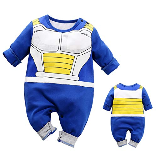 YFYBaby Newborn Baby Boy Dragon Ball Z Costume Romper Vegeta Outfit Infant Playsuit Gift Blue]()
