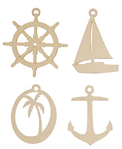 Nautical Themed Sailboat (Unfinished Wooden Christmas Ornaments - 24-Pack Paintable Blank Xmas Tree Hanging Wood Slices for Kids DIY Art Crafts, Festive Decoration, 4 Assorted Nautical Designs, 3.1 x 4.1 to 4.5 x 4.6 Inches)