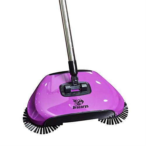 (Dracarys Lazy 3 in 1 Household Cleaning Hand Push Automatic Sweeper Broom - Including Broom & Dustpan & Trash Bin - Cleaner Without Electricity Environmental (Purple))