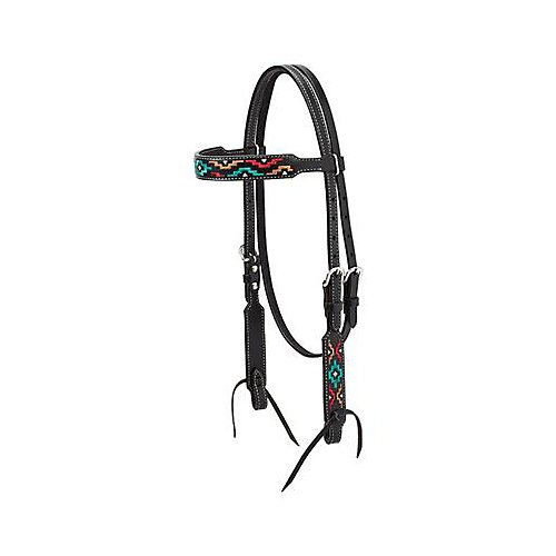 Weaver Leather Turq Cross Browband Headstall LtOil