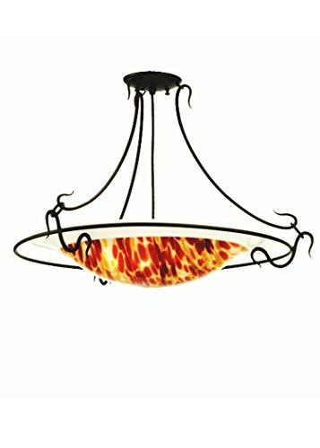 (Meyda Tiffany Custom Lighting 52353 Piatto Dolce 3-Light Semi-Flush Mount, Black Finish with Red and Orange Fused Art Glass Shade )