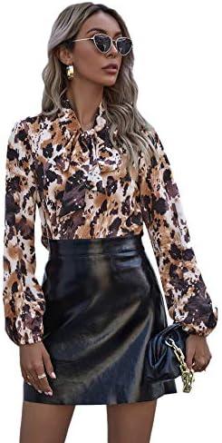 Romwe Women's Elegant Vintage Bow Tie Neck Lantern Sleeve Button Ruffle Curve Boho Blouse Tops Shirt