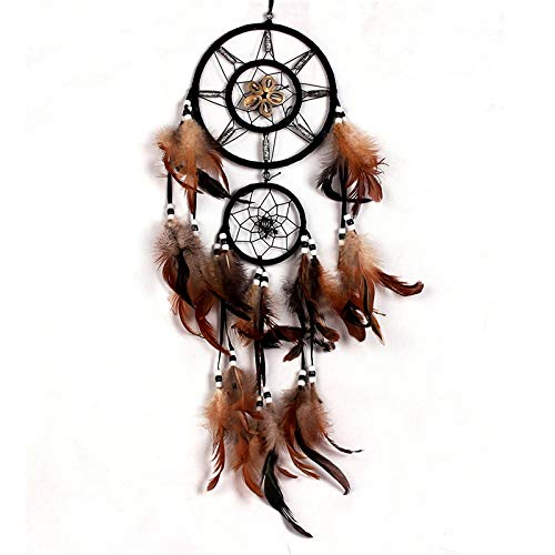 BBB&LIU Feather Crafts Dream Catcher Brown Wind Chimes Handmade Indian Dreamcatcher Net for Wall Hanging Car Home Decoration,Brown