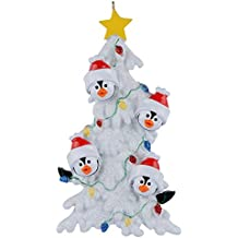 Personalized Penguin Family Christmas Tree of 4 Ornaments