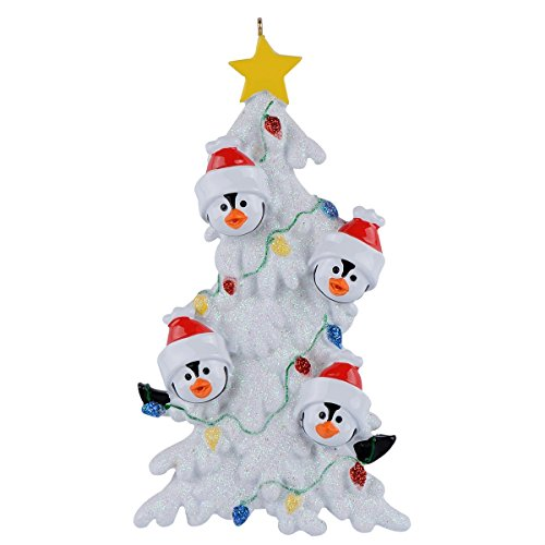 Personalized Penguin Family Christmas Tree of 4 Ornaments - Handmade Personalized Ornaments