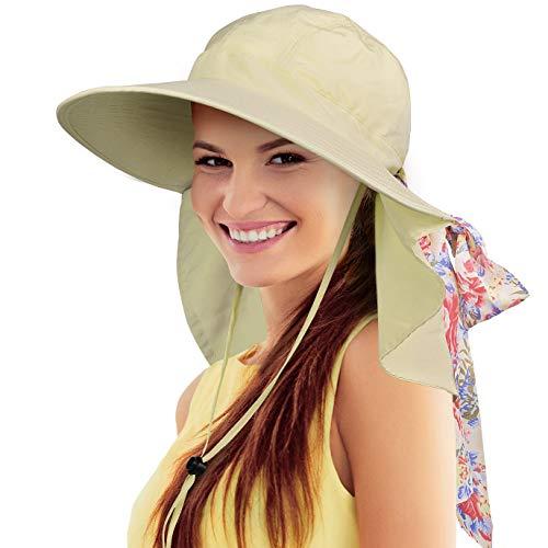 Tirrinia Women Large Brim Adjustable UPF 50+ Sun Hat Safari with Floral Ribbon for Beach Hiking Camping Fishing Gardening Tan