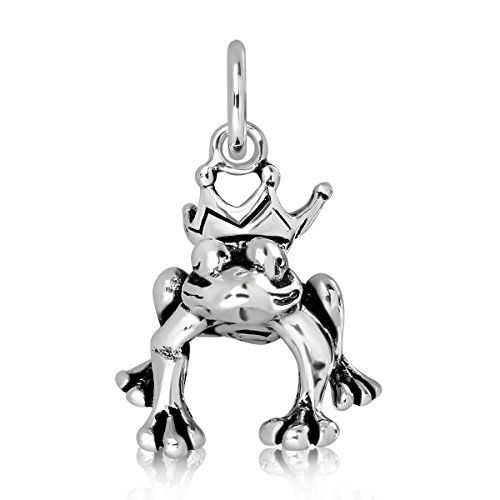 WithLoveSilver Solid 925 Sterling Silver Charm Frog Prince - Charm Frog Pendant