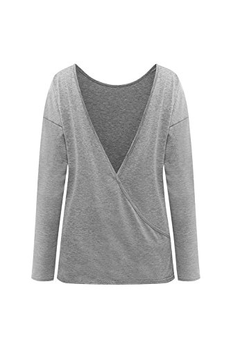 Flojo de camisa Backless de las mujeres blusa de manga larga Grey