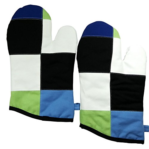 - [Simplicity] Heat Resistant Patchwork Oven Gloves/Micro-oven Mitts 2-Pack