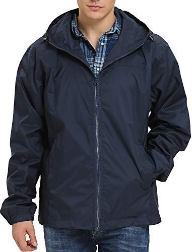 iLoveSIA Men's Lightweight Rain Jacket with Hood Navy G2 Size L