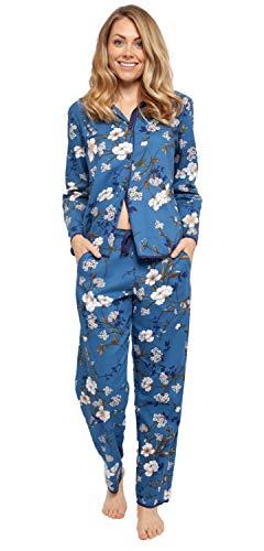 Cyberjammies Damen Schlafanzug mit Blumenmuster, Blau (4367/4368)
