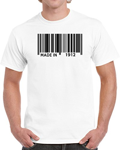 Made In 1912 Barcode Funny Birth Year Custom Birthday Gift Unisex T-shirt 2XL White (Bar 1912)