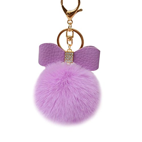 Iuhan Fashion Fluffy Faux Rabbit Fur Ball Bowknot Charm Car Keychain Handbag Key Ring (Purple)