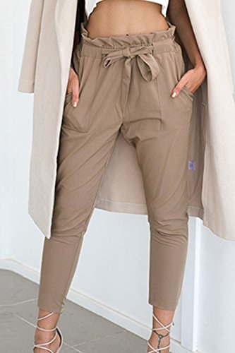 Cinturón Tobillo Mujeres Con Verano Pantalones Casual Yulinge Pantalon Khaki Largo Slim qpFwn7