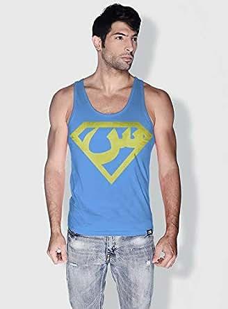 Creo Arabic Superman Logo Trendy Tanks Tops For Men - M, Blue