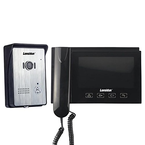 Door Entry Intercom - Lansidun Video Doorbell Wired Door Phone 7 inch Clear LCD Handset or Hand-free Entry Intercom Monitor System Night Vision Camera for Home Security-Black