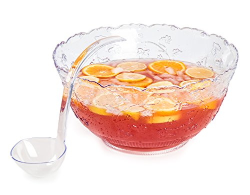 Premium Quality Plastic Punch Bowl With Ladle - Large 2 Gallon Bowl With 5 oz Ladle by Upper Midland (Punch Bowl And Ladle)