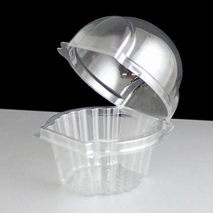 Recipiente Individual para Cupcake de Plástico y con Bisagra (Paquete de 25)