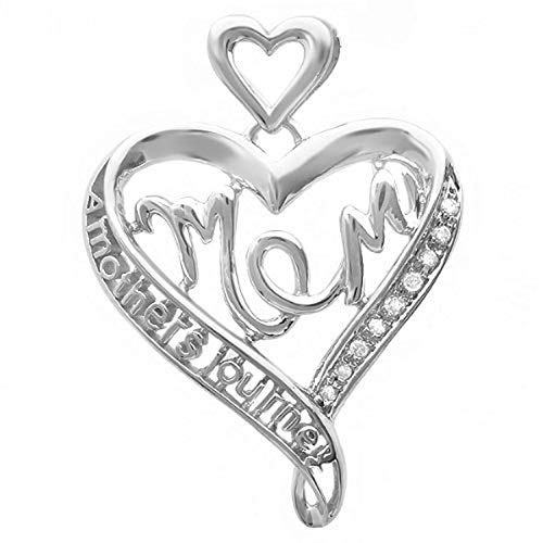 - Dazzlingrock Collection 0.05 Carat (ctw) White Diamond Ladies Heart Moms Gift Mothers Journey Pendant, Sterling Silver