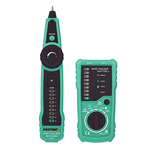 Wire Tracker, Protmex FY869 RJ11 RJ45 Cable Tester Multifunction Measuring Instrument Line Finder for Network Cable Collation, Telephone Line Test, Continuity Checking, Low Battery Capacity Indication by Protmex