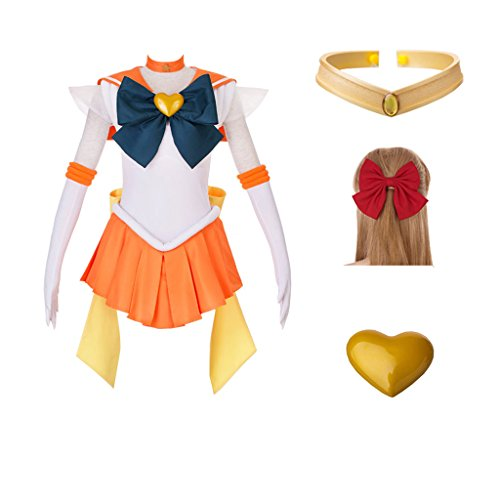 DAZCOS Adult US Size SuperS Sailor Venus Minako Aino Battle Cosplay Costume Dress with Tiara (Women S)