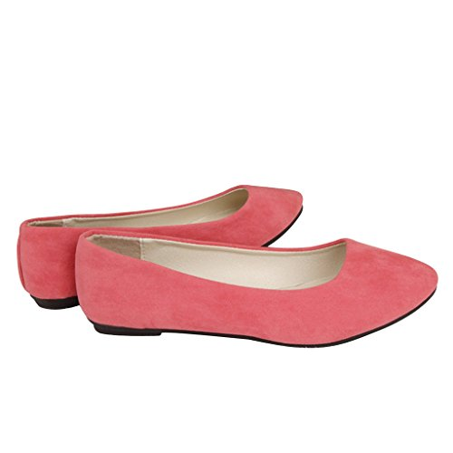 Lieber Zeit Frauen Flache Schuhe Bequeme Slip On Spitz Ballerinas Rosa