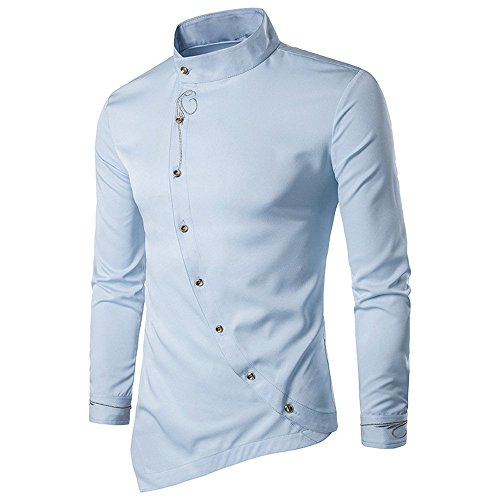 Asimétrico Slim Baratas Camisas Otoño Hombre Lino Fit Business Formal Originales Larga Blanca Manga Tops Casual Blusa Azul Familizo Button Negocio down dYHqx8OwIH