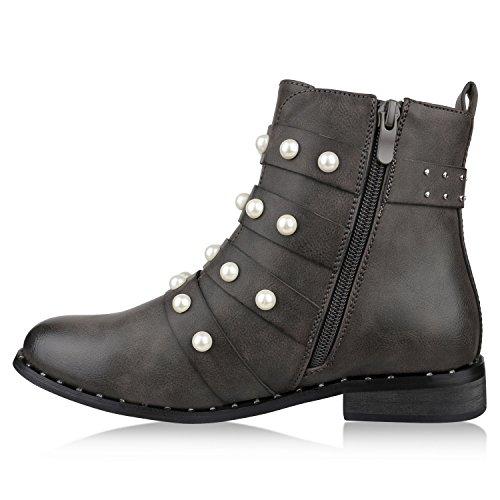 Stiefelparadies Damen Stiefeletten Biker Boots Nieten Schnallen Gefütterte Schuhe Flandell Grau Arriate