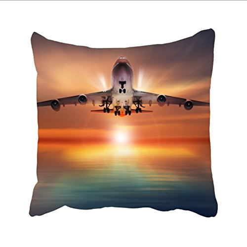 (FunnyLife Airplane Under The Sunset Designs Decorative Woven Couch Throw Pillows, square pillowcase)
