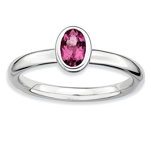 Sterling Silver Stackable Oval Pink Tourmaline Solitaire Ring, Size 8