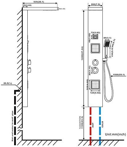 Auralum Columna de Ducha Termostático, Hidromasaje (Acero ...