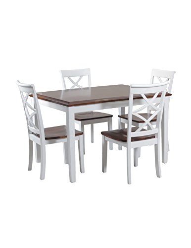 Powell Cherry Chair (Powell 14D2040 5 Piece Harrison Dining Set, Cherry/White)