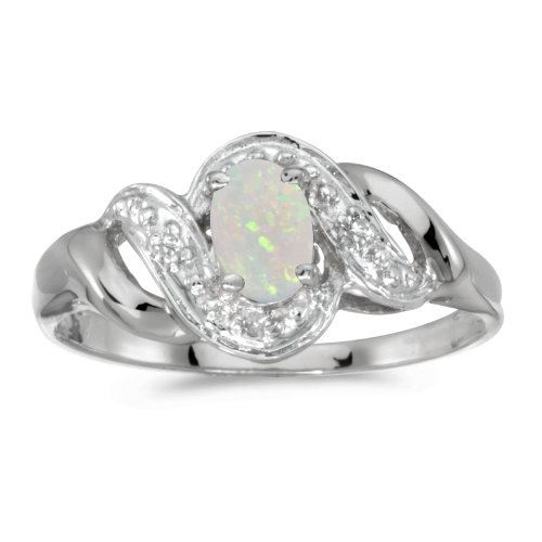 14k White Gold Oval Opal And Diamond Swirl Ring (Size 8)