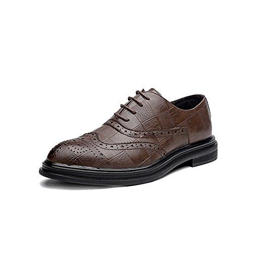 con Uomo stringate piatte bretelle 2018 da uomo Marrone Scarpe Pelle shoes Jiuyue basse EU Scarpe 42 Marrone Color Dimensione xP0qn8
