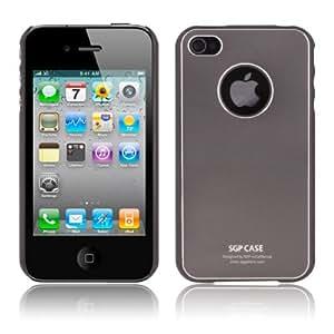 DapurMu - 2 in 1 (SGP Metallic Series Style Plastic Case + Screen Protector) for iPhone 4 (Dark Grey)