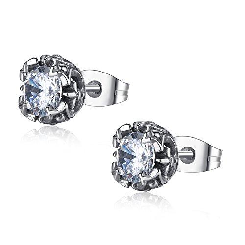 REVEMCN Jewelry Silver Tone Stainless Steel Vintage Stud Earrings for Men Women, Various Styles (White CZ-2)